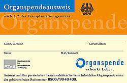 Bild eines Organspendeausweises